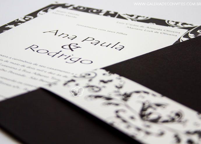 Convite de Casamento preto e branco - Galeria de Convites