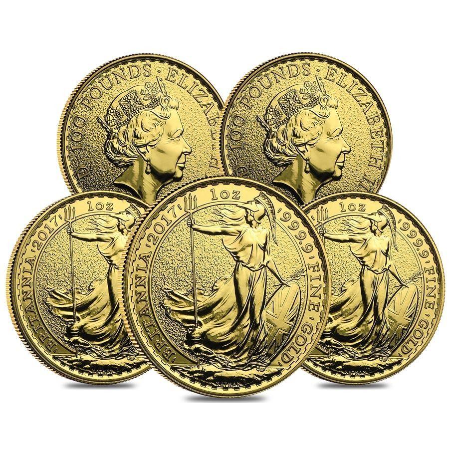 Lot Of 5 2017 Great Britain 1 Oz Gold Britannia Coin 9999 Fine Bu Gold Bullion Coins Gold Coins Coins