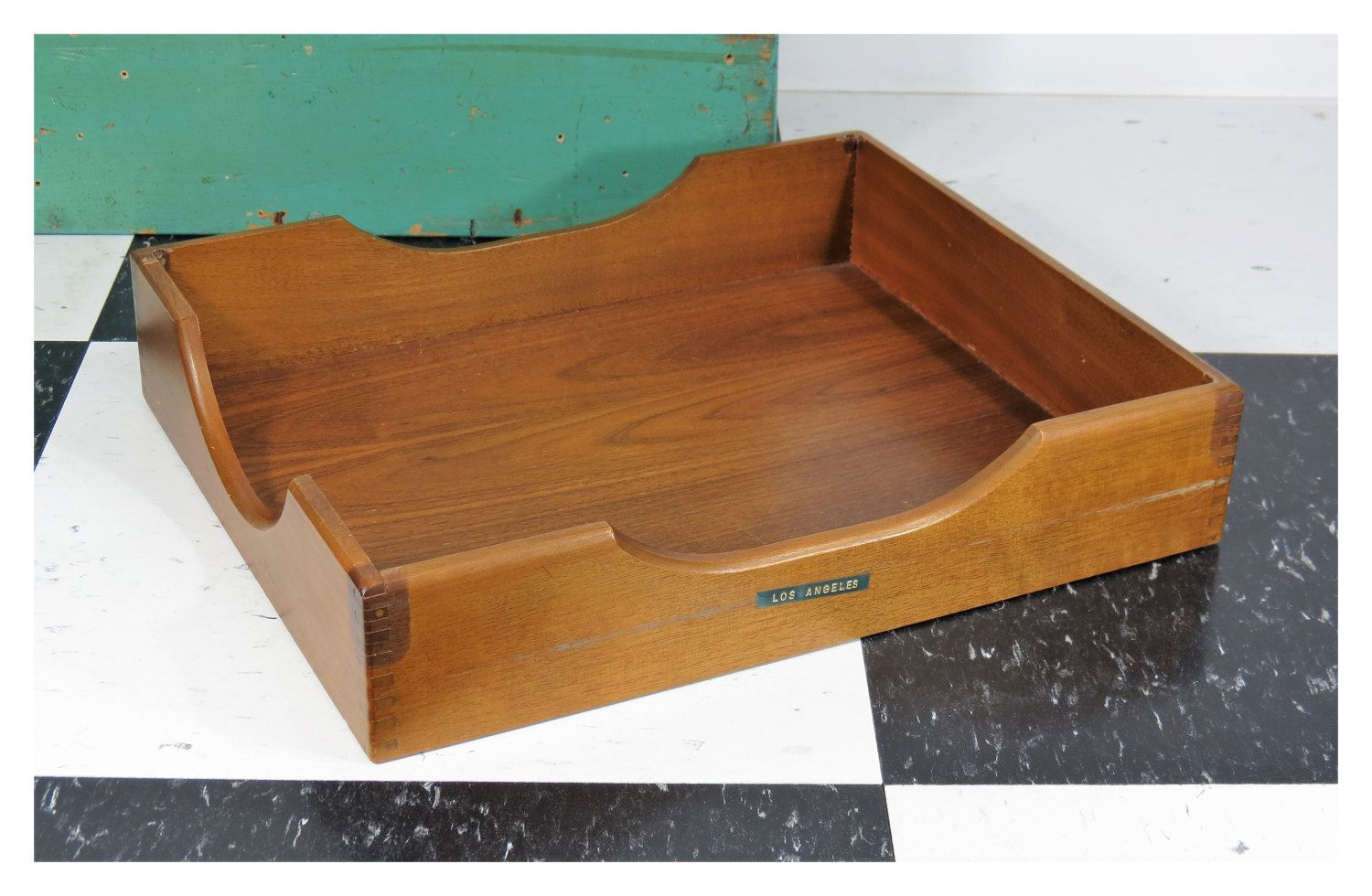 Vintage Wooden Desk Tray With Finger Joints In Out Box Office