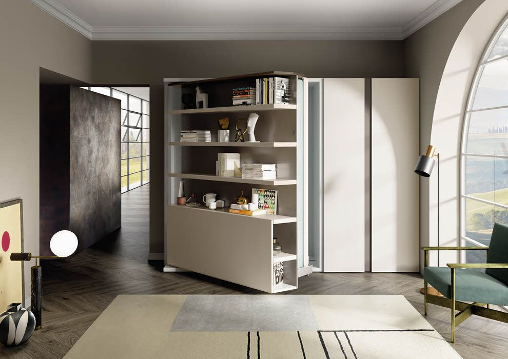 revolving wall bed with desk shelves lgm tavolo in on wall beds id=89522