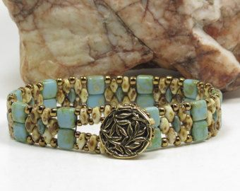 SUPERDUO CZECHMATE TILE Bracelet Turquoise por CinfulBeadCreations