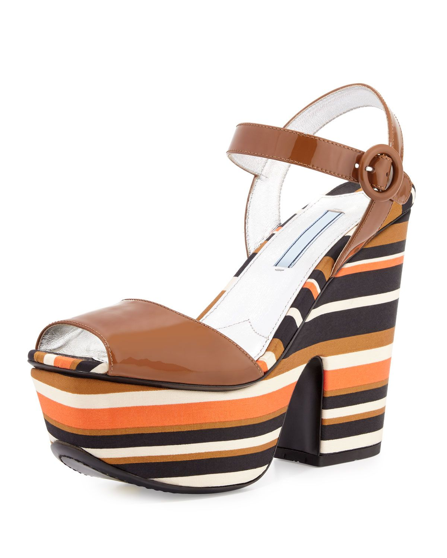 cd2ceac48f4c Prada Patent Striped Wedge Sandal