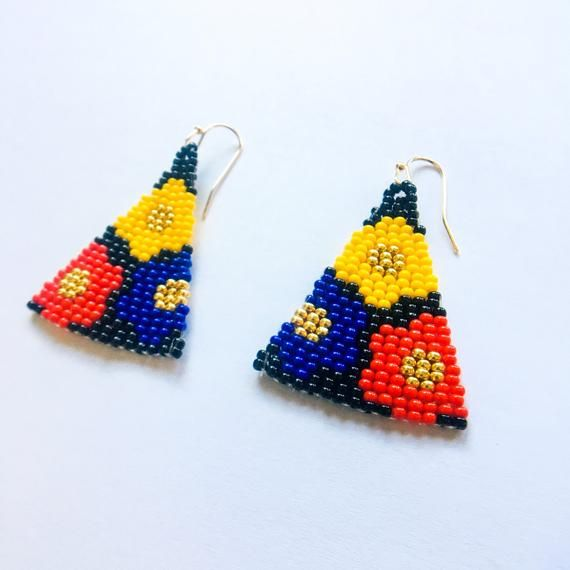 Primary colors red blue yellow black gold handmade flower seed bead earrings
