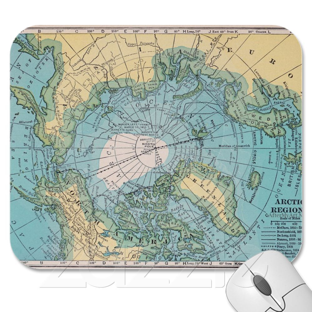 Vintage Map Of The Arctic Mousepad From Zazzle