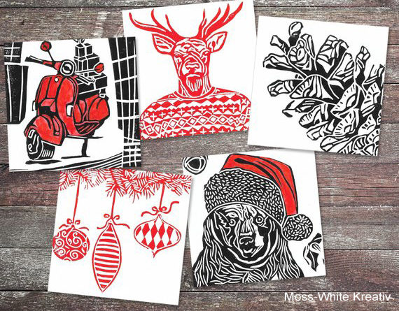 ideas for linocut christmas cards  google search