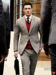 charcoal suit red sweater - Google Search | Grooms | Pinterest ...