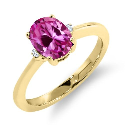 1.68 Ct Oval Pink Created Sapphire 14K Yellow Gold Ring, Women's, Size: 6