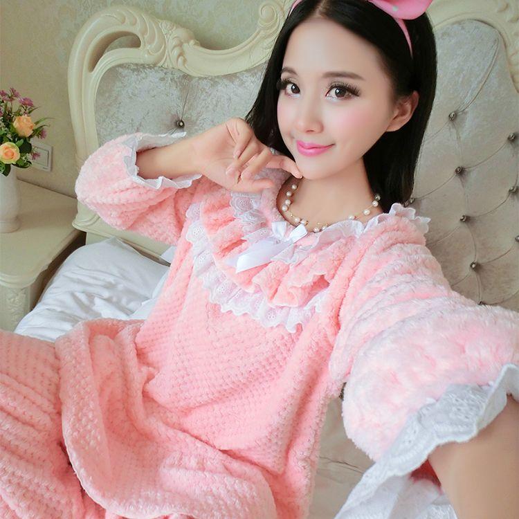 bab8026067 Warm Fluffy Lolita Princess Pink Nightgown Set