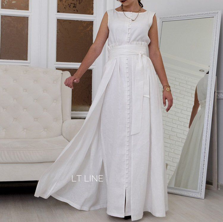 Photo of White linen buttoned dress with removable skirt for special occasion, traveling, resort wear, wedding anniversary, photo shoot, plus size