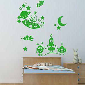 Childrens Aliens Wall Sticker - Wall Art Vinyl Stickers