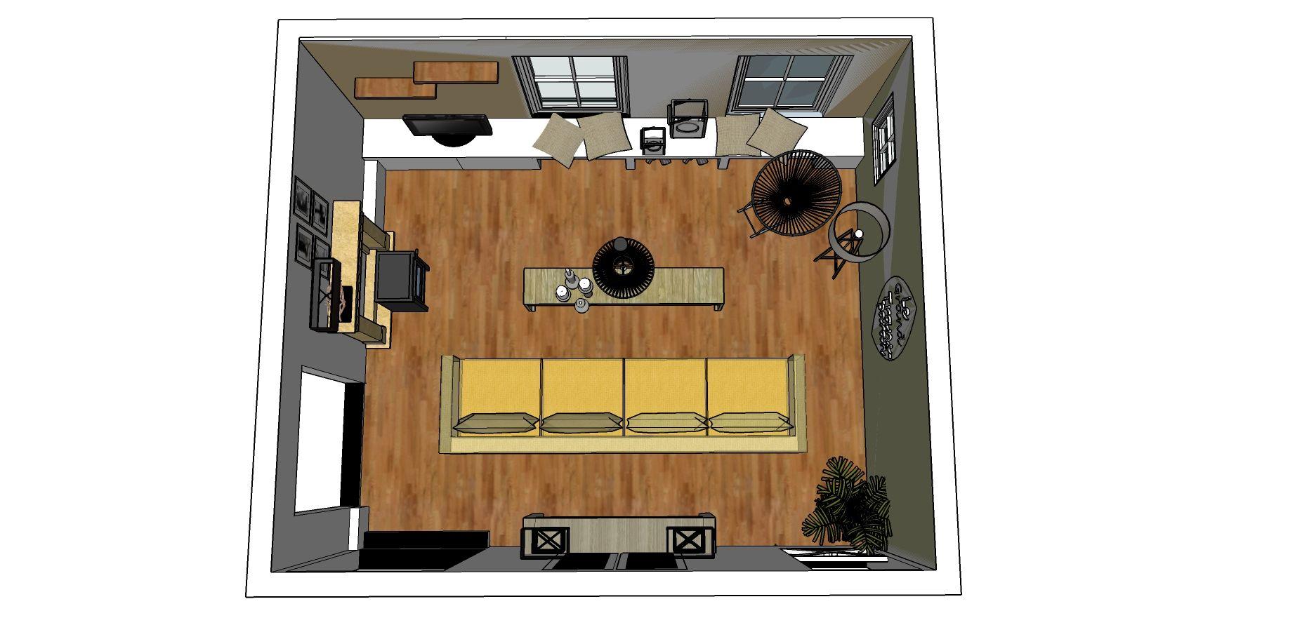 3D impressie   Sketchup   Interieuradvies   Woonkamer   Ontwerp by ...