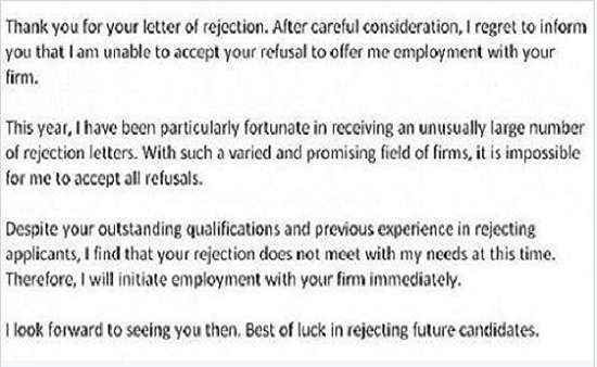 31 Job Rejection Letters.. Wow... Rejection has never been funnier ...