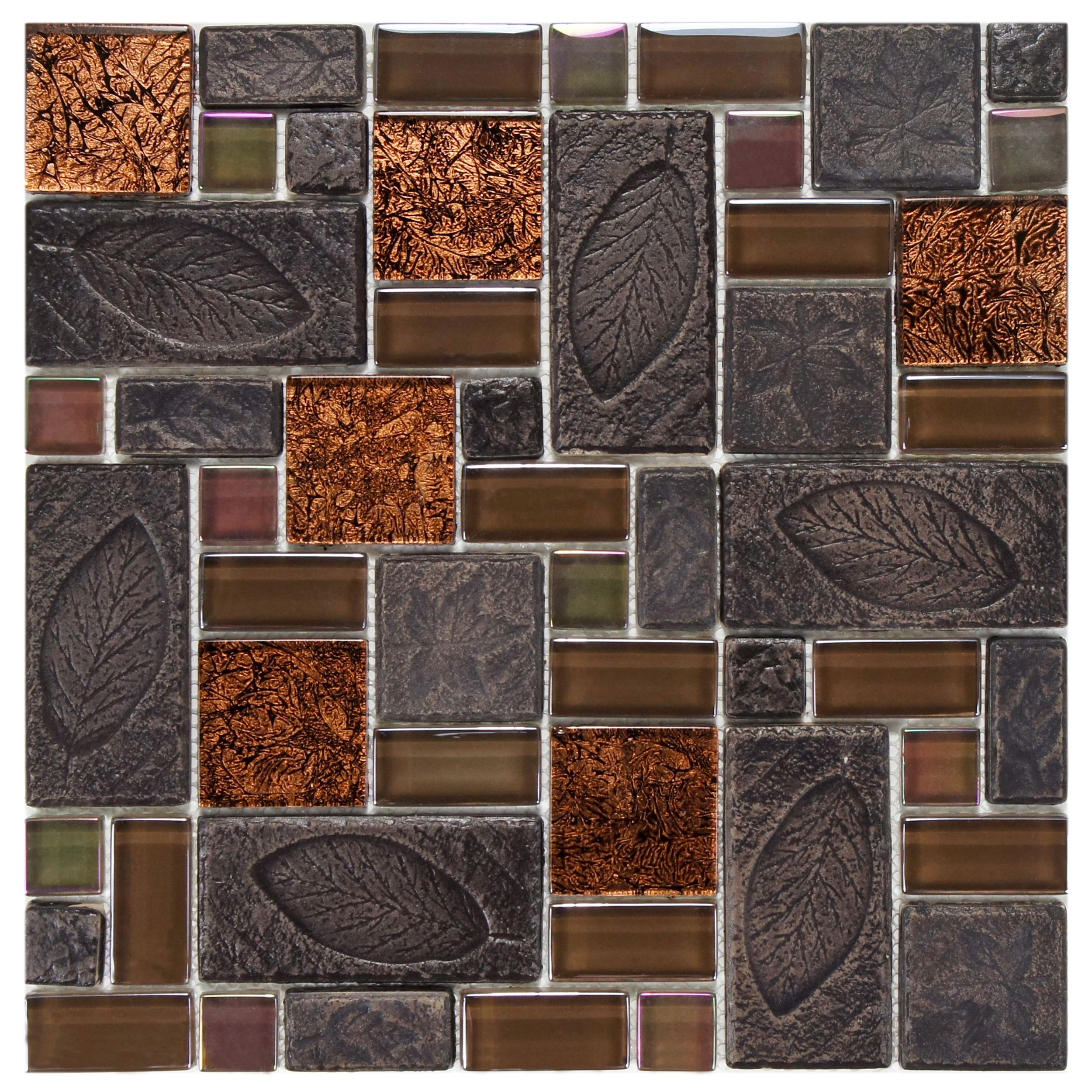 Somertile 11 75x11 75 Inch Oasis Versailles Walnut Glass And Ceramic Mosaic Wall Tile 10 Tiles 9 79 Sqft Case Oasis Versailles Glass Mosaic Tiles Ceramic Mosaic Tile Mosaic Glass