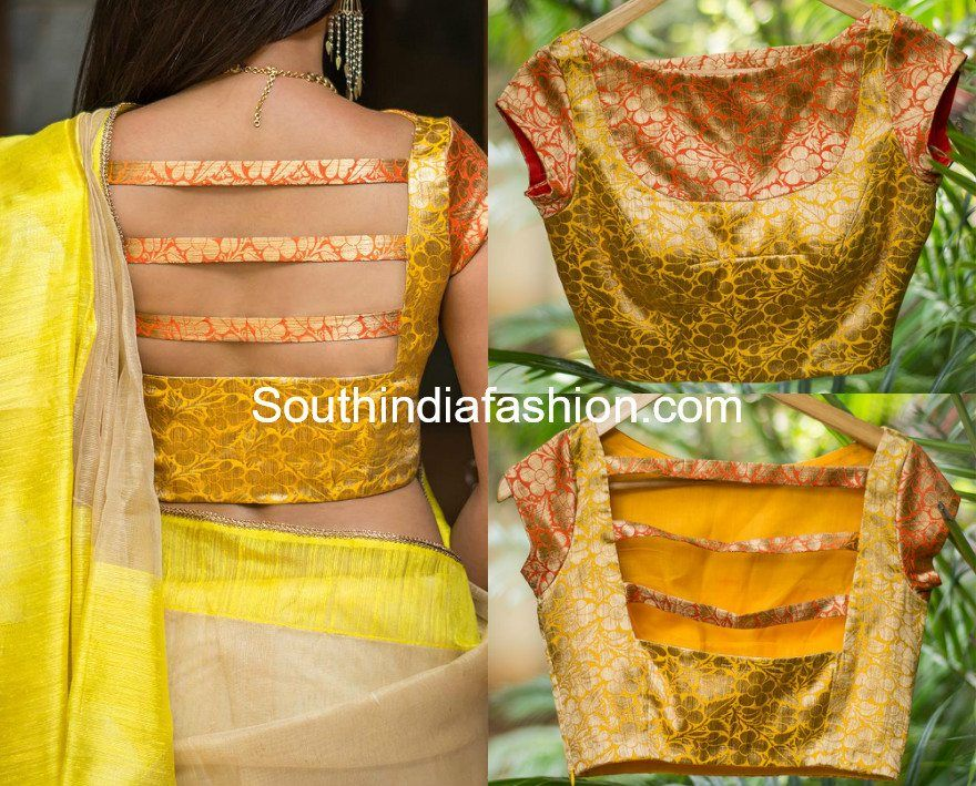 6 Beautiful Boat Neck Brocade Blouse Designs #blousedesigns