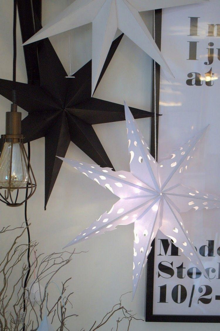 Beeindruckend Weihnachtsdeko Aus Papier Ideen Von Sterne In Schwarz Und Weiß Als Im