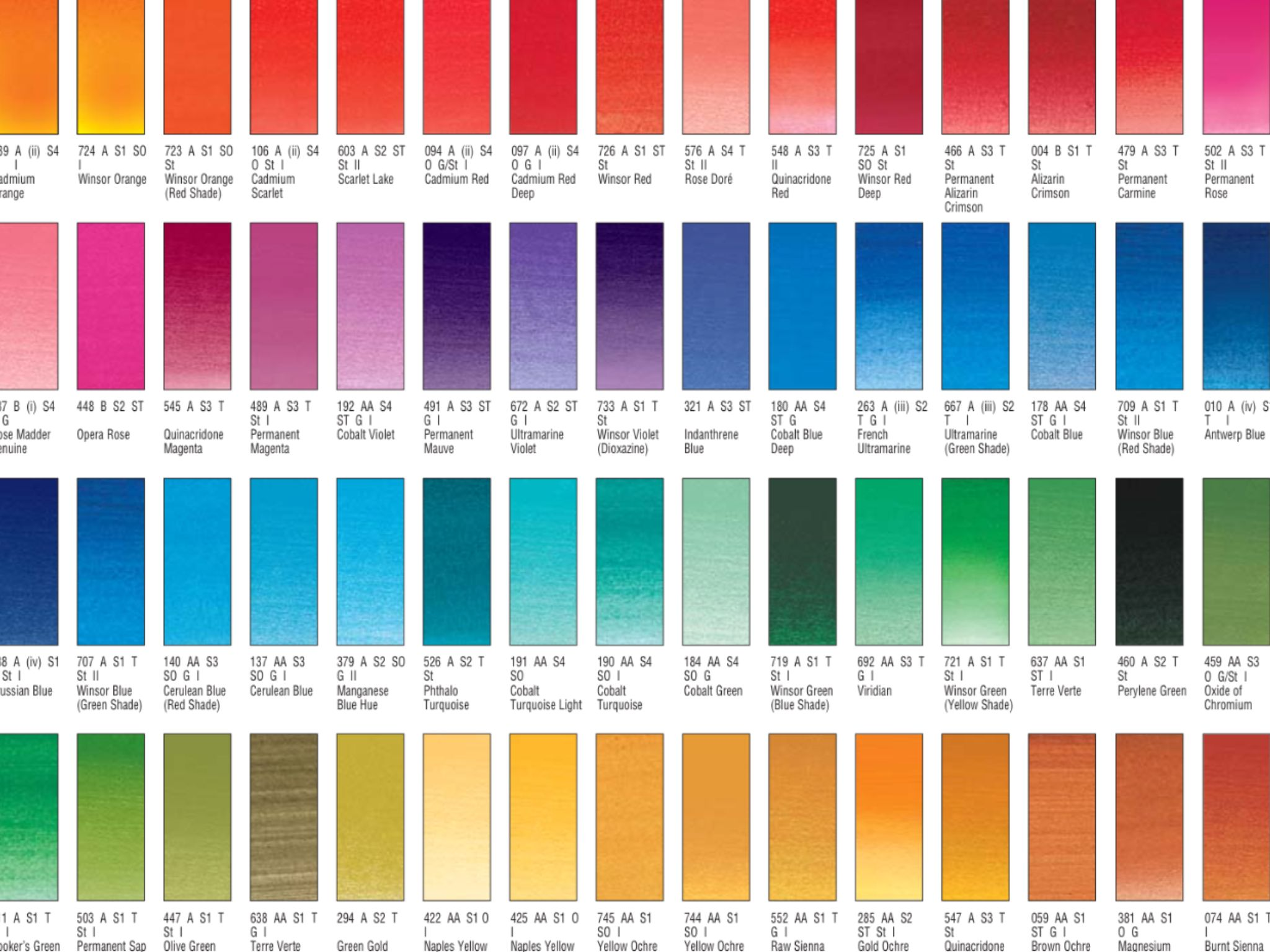 Winsor Et Newton Nuancier Aquarelle Extrafine Farbe Farbkarte