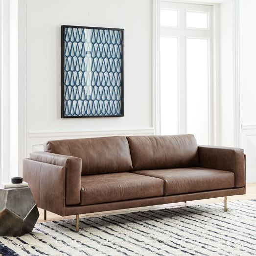 West Elm Dempsey Leather Sofa 84