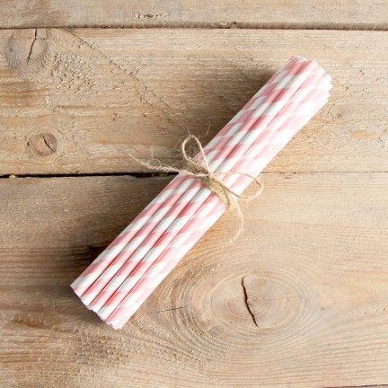 Pack de 25 pajitas de papel a rayas rosas. Se venden en: www.mrwonderfulshop.es