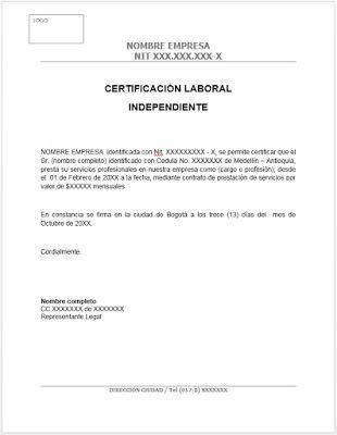 Trabajo Personal Trabajo Formato De Carta De Recomendacion Modelo Certificacion Laboral Trabajador Independiente Word