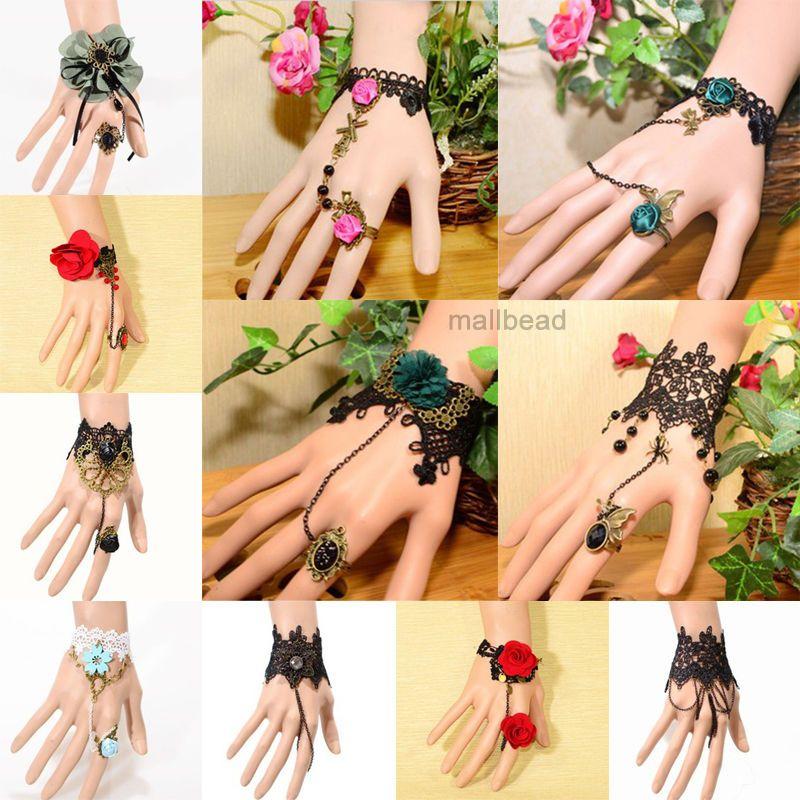 Women's Vintage Lace Rose Flower Bracelet Ring Gothic Lady Wedding Jewellery Set