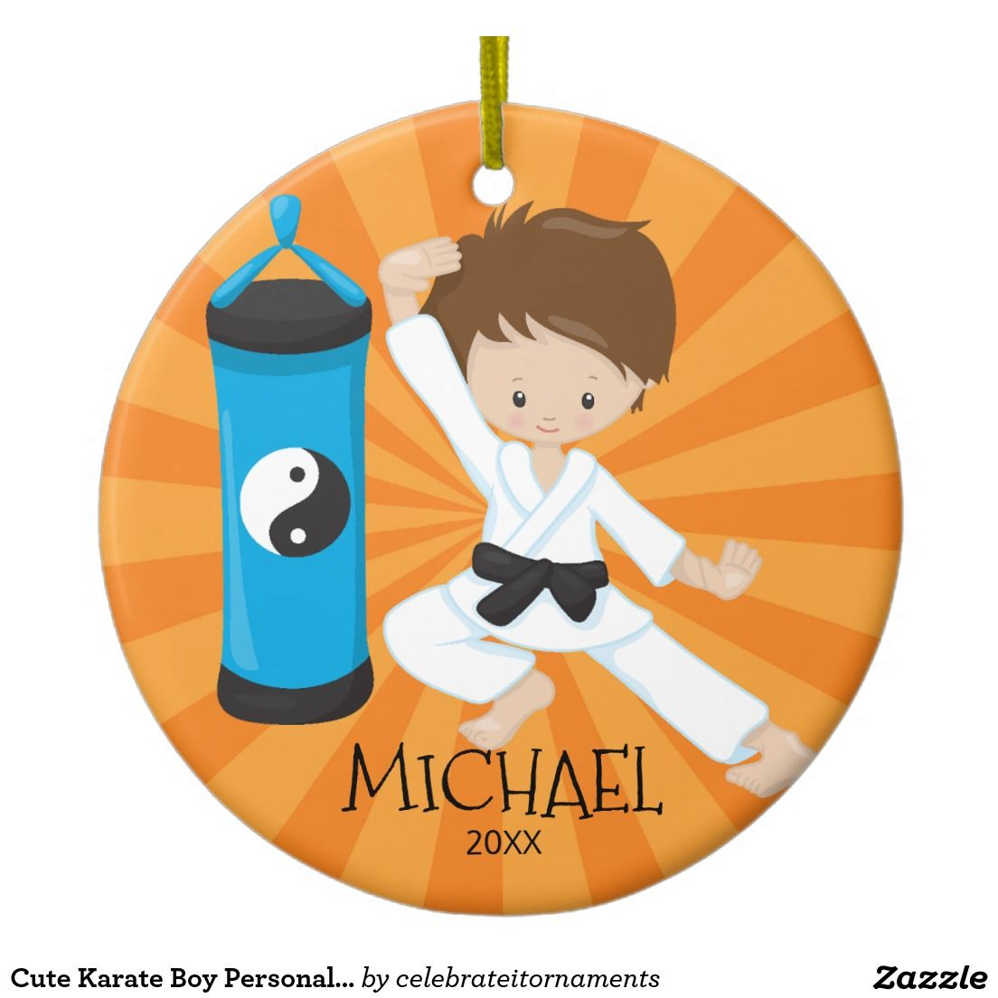 Karate ornament - Cute Karate Boy Personalized Christmas Ornament