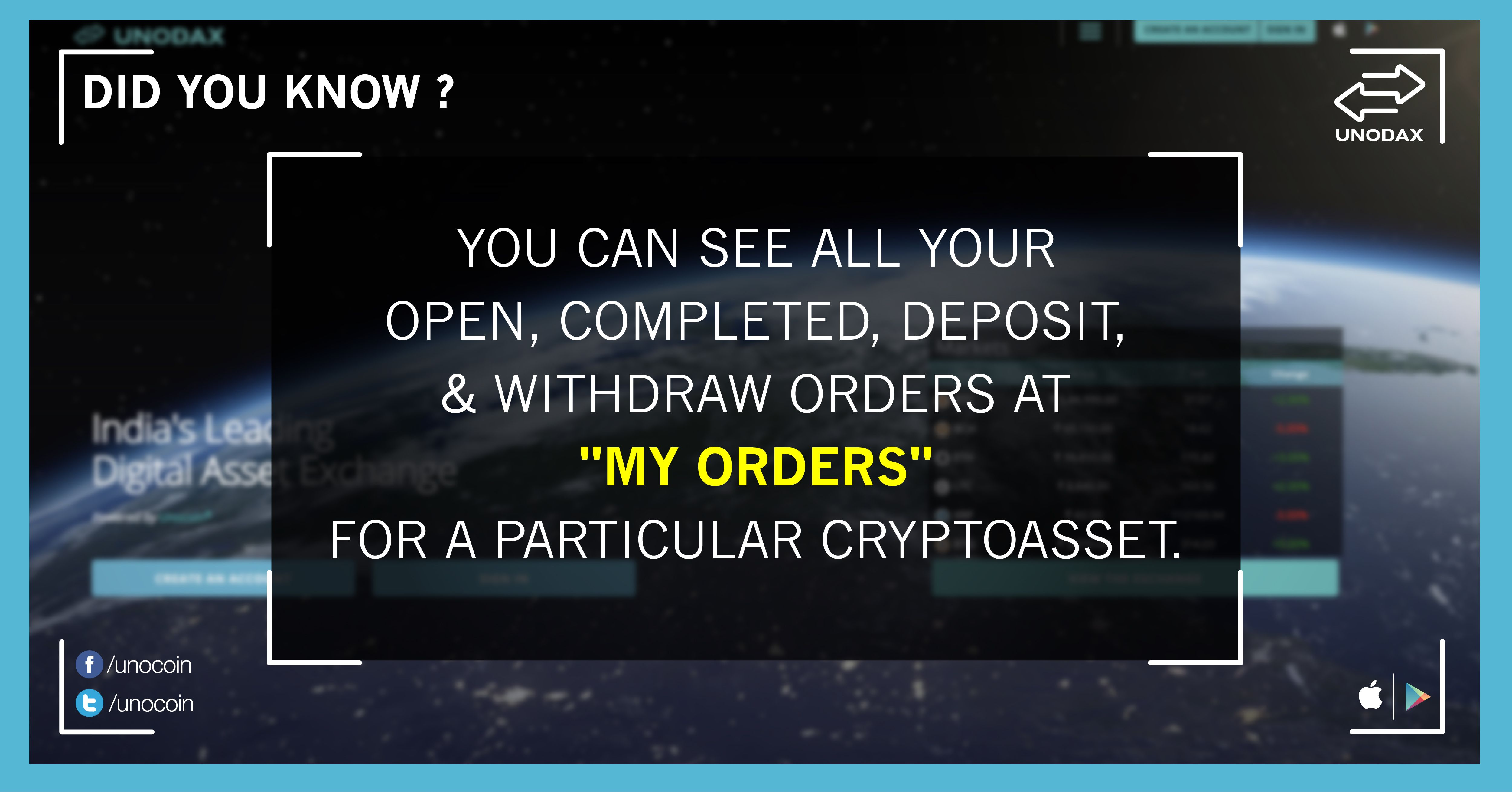 Check all your open completed deposit withdraw orders