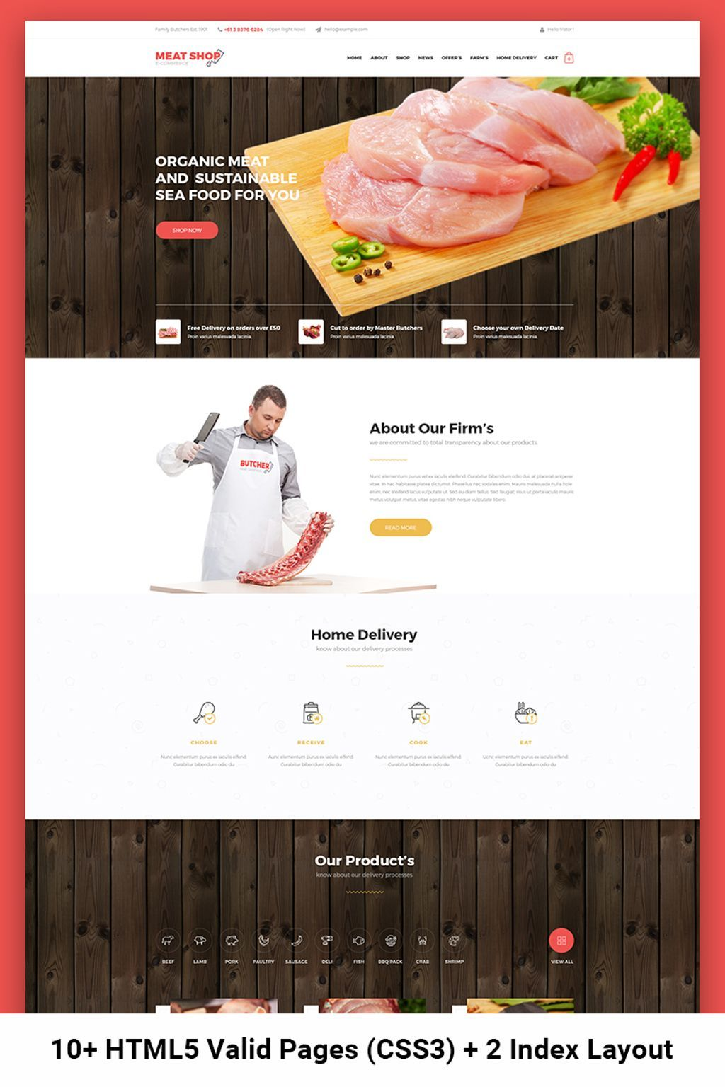 Meat Shop eCommerce Website Template | Design Bundle | Website