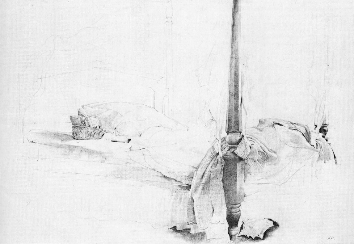 Andrew Wyeth The bed (1956) [sketch for Chambered