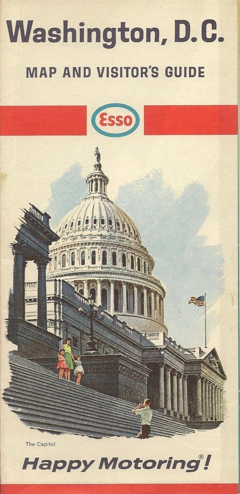 1966 ESSO HUMBLE OIL US Capitol Road Map WASHINGTON DC Alexandria ...