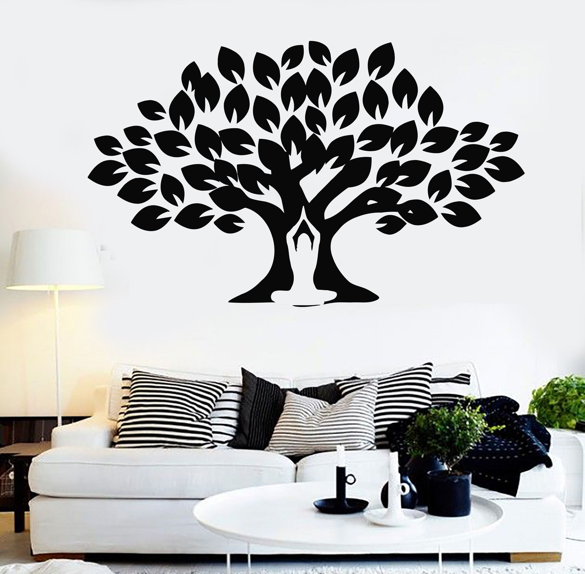 Vinyl Wall Decal Yoga Meditation Center Tree Buddhism Stickers Mural Unique Gift 094ig Wall Painting Decor Diy Wall Painting Vinyl Wall Decals