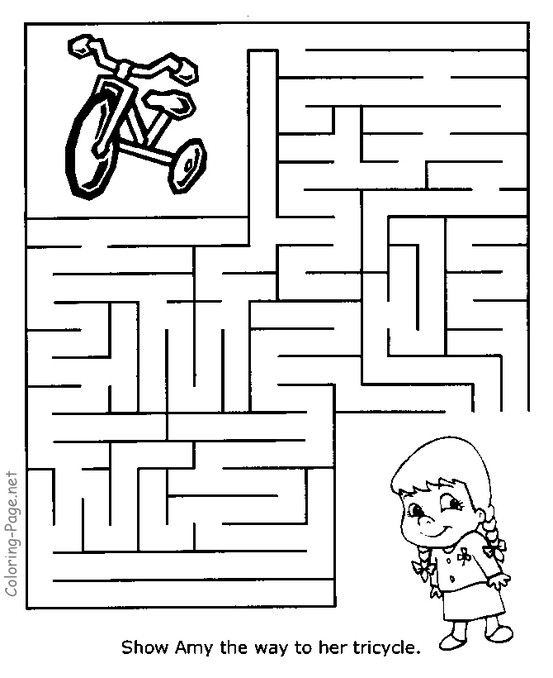 Maze Games And Kid Channel Mazes Show Amy Her Tricycle Mazes For Kids Printable Mazes Mazes For Kids Printable Maze worksheets for year olds