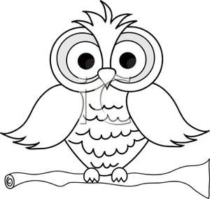 An Outline of an Owl Sitting on a Perch  Royalty Free Clipart