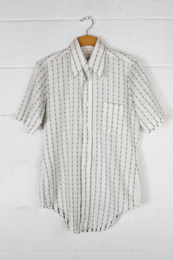 70s Short Sleeve Button Down Arrow Vintage Dress Shirt Vertical Striped Patterned Medium Large Vintage Shirt Dress Short Sleeve Striped