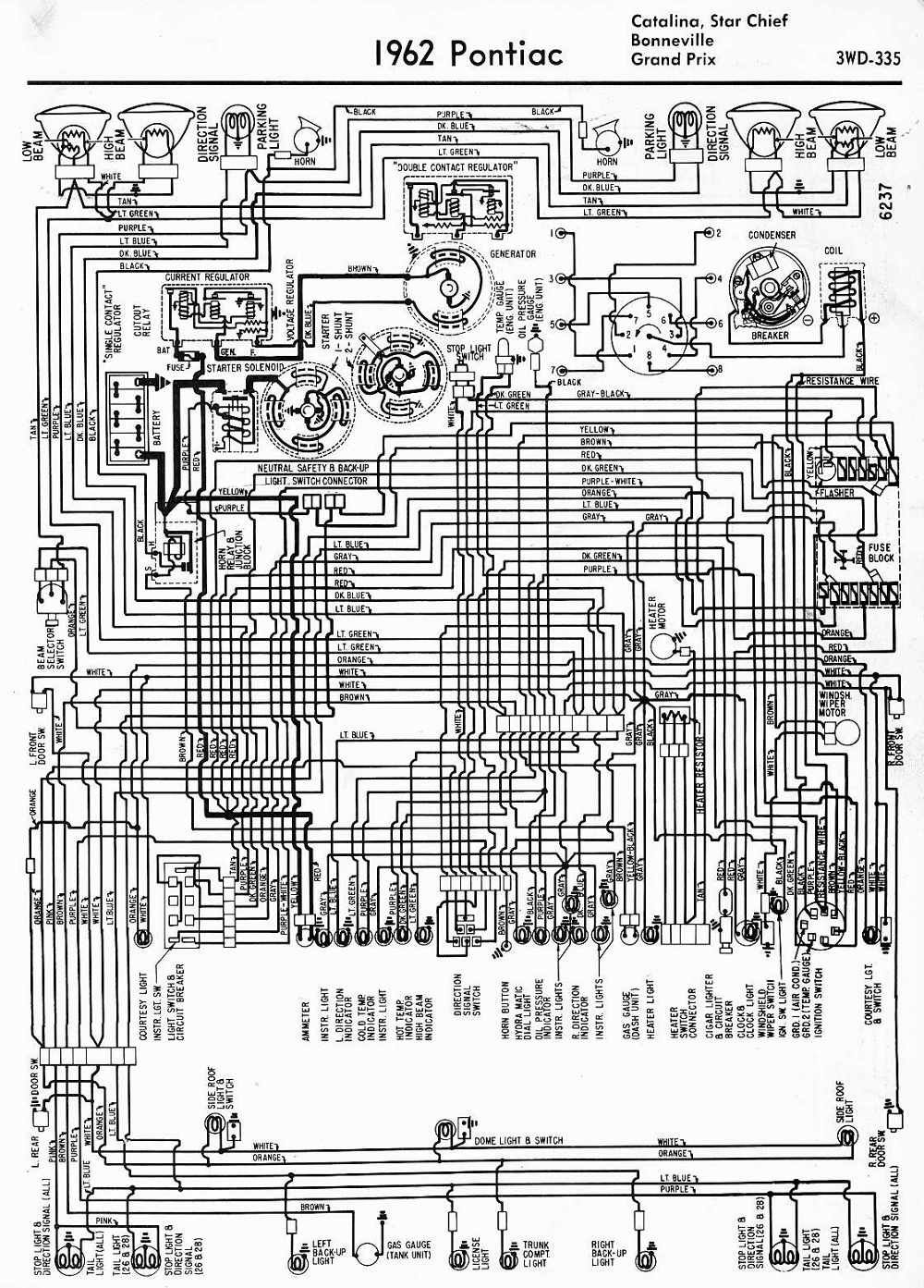Wiring Diagrams Of 1962 Pontiac Catalina Star Chief Bonneville And Grand Prix Pontiac Catalina Diagram Pontiac