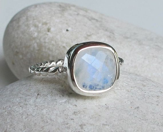 Moonstone ring Sterling silver Silver stacking rings Rustic ring June Birthstone