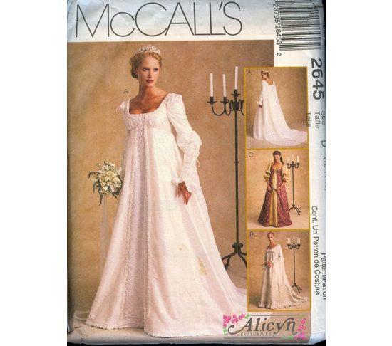 Renaissance Faire Wedding Dress Gown Costume History Mccalls: McCall's 2645 Sewing Pattern Reniassance Wedding Dress