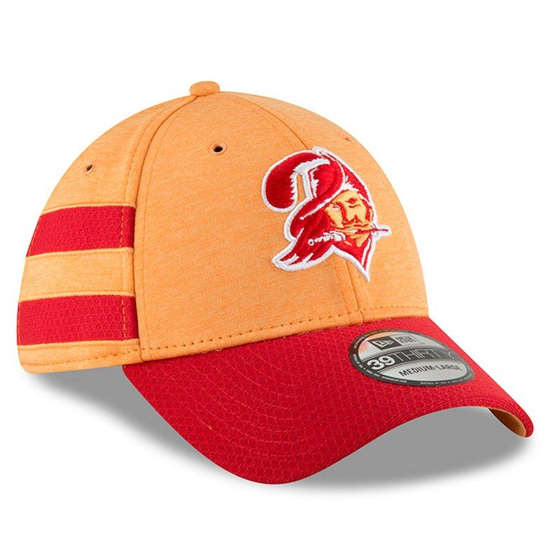 official photos 85b1e bc818 Tampa Bay Buccaneers New Era 2018 NFL Sideline Home Historic Official  39THIRTY Flex Hat – Orange Red
