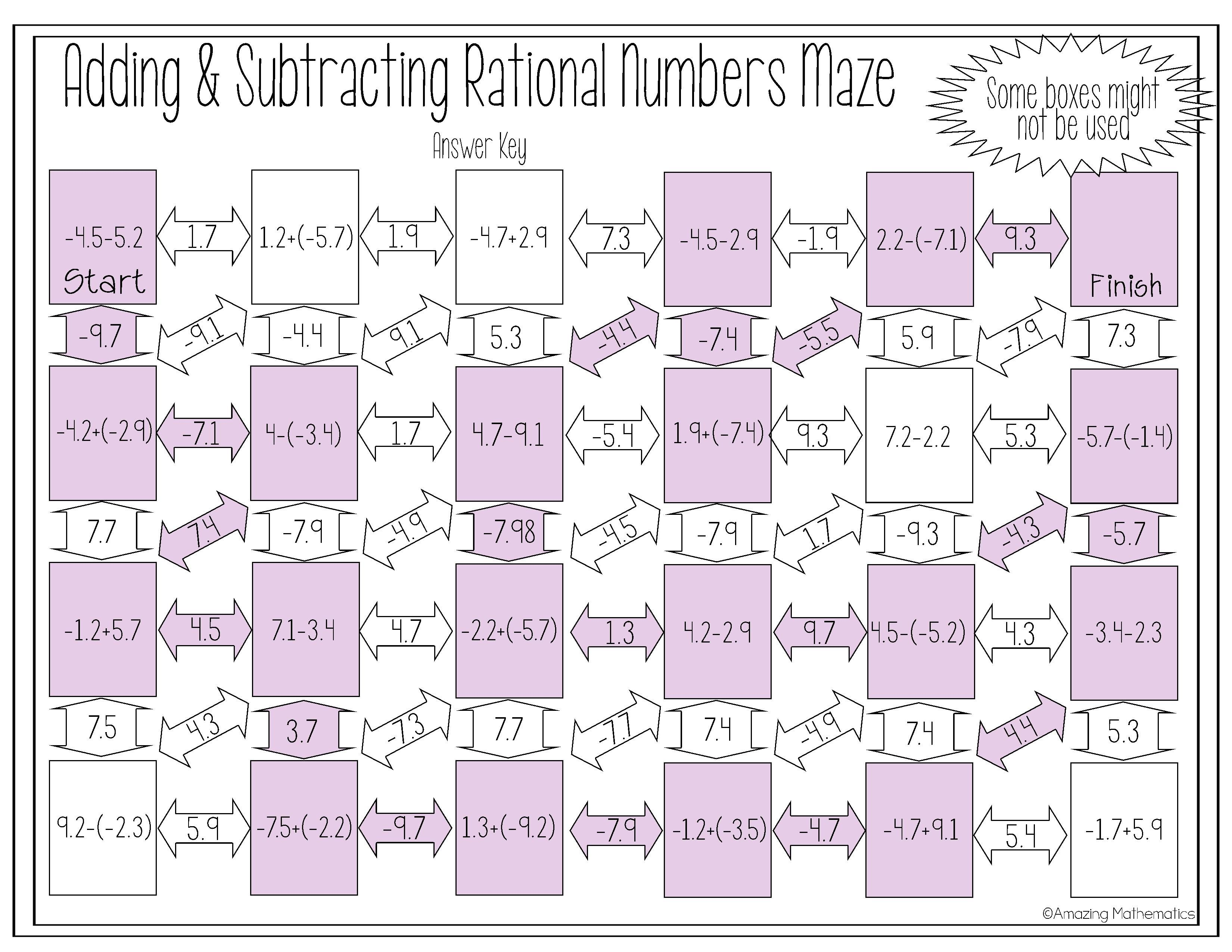 Adding Amp Subtracting Rational Numbers Maze