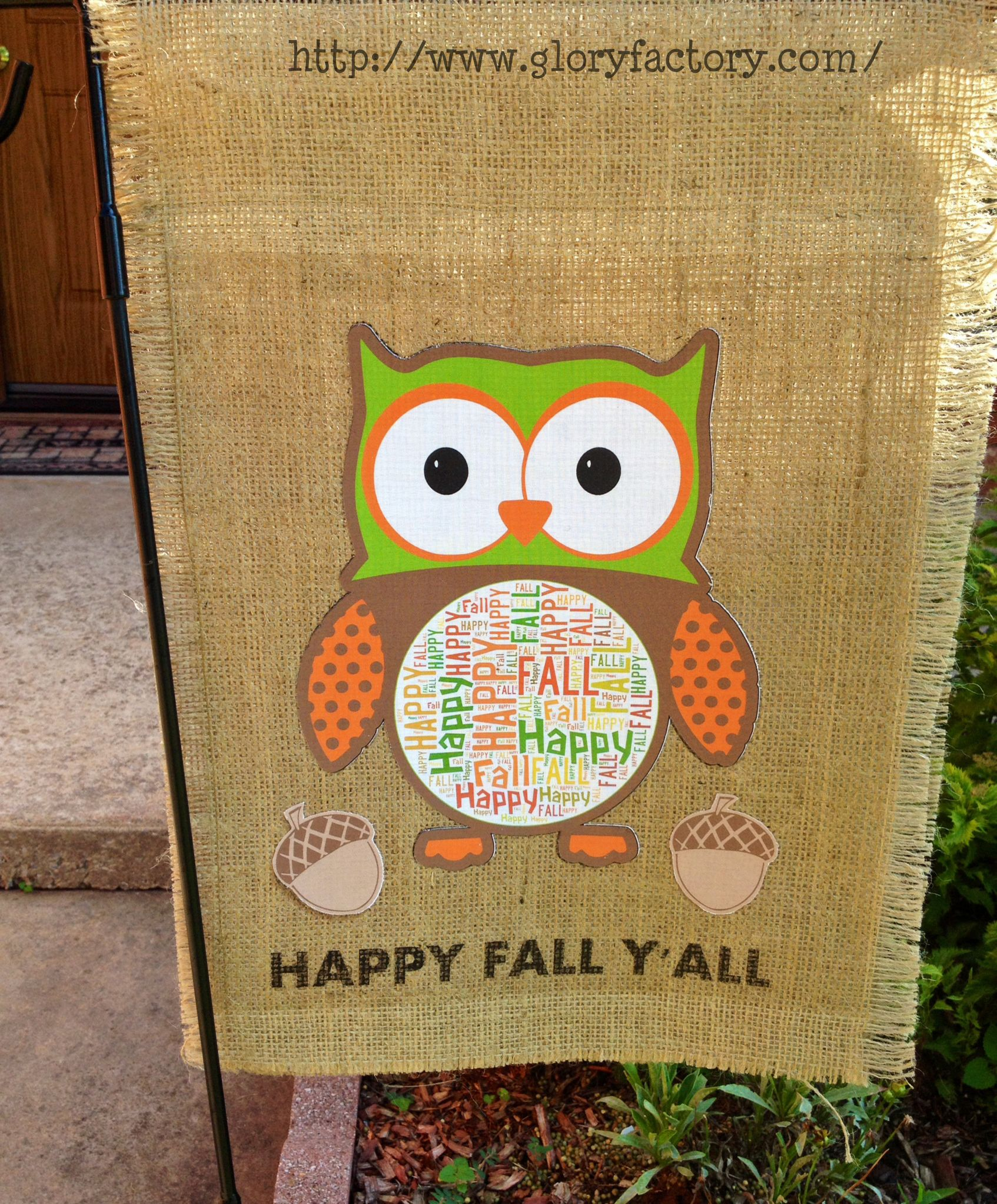 Burlap Garden Flag from GloryFactory.com : Owl / Happy Fall Y\'All ...