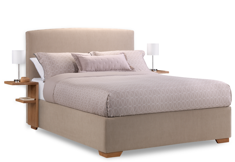 bed side view png. Cream Fabric Max Storage Bed With Bedside Tables Side View Png