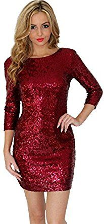 eeea7a6c U-shot Ladies' Sexy Paillette Sparkly Slim Fit Clubwear Party Wiggle Dress:  Amazon.co.uk: Clothing