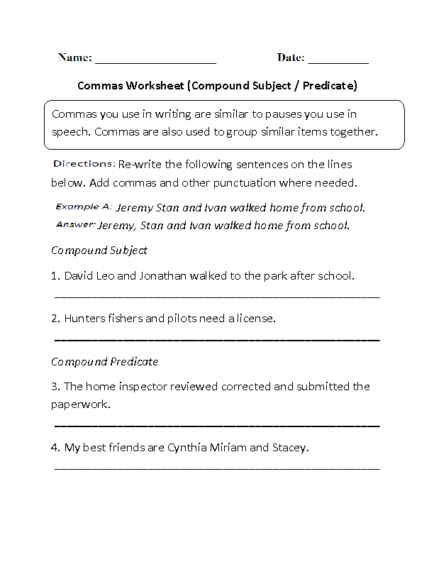 Compound Subject and Predicate Commas Worksheet | GRAMMER EXCERSIZES ...