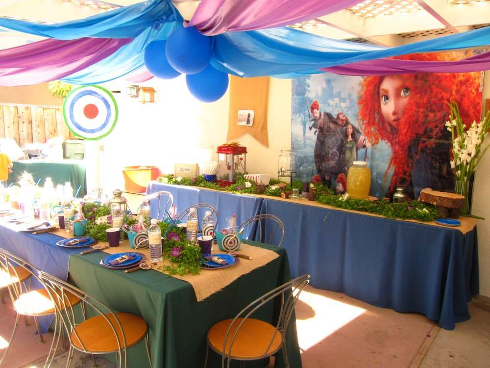 Brave Movie Disney Princess Merida Kids Birthday Party Decoration Tablecover