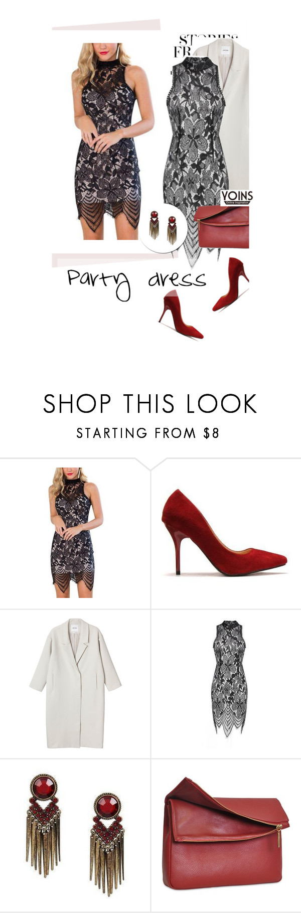 """""""Party dress"""" by merima-kopic ❤ liked on Polyvore featuring Monki, Eddie and yoins"""
