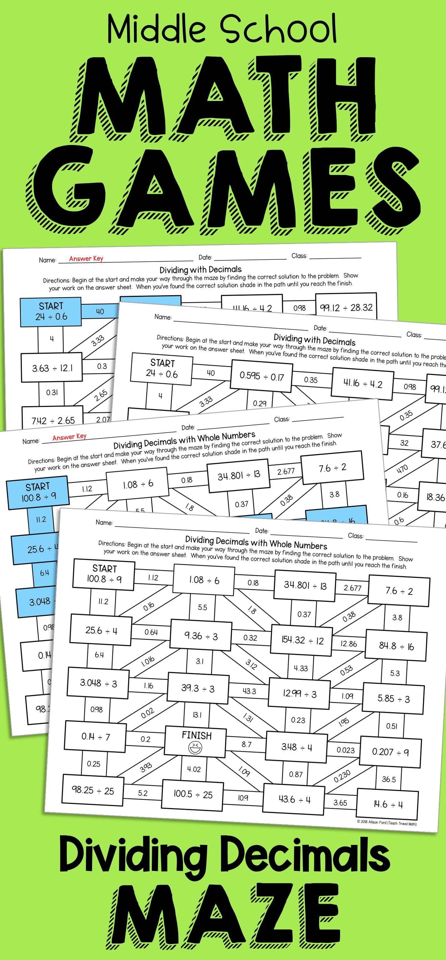 Decimal Division Maze