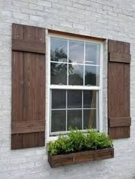 Image Result For White Brick Ranch House With Wood Stained Shutters