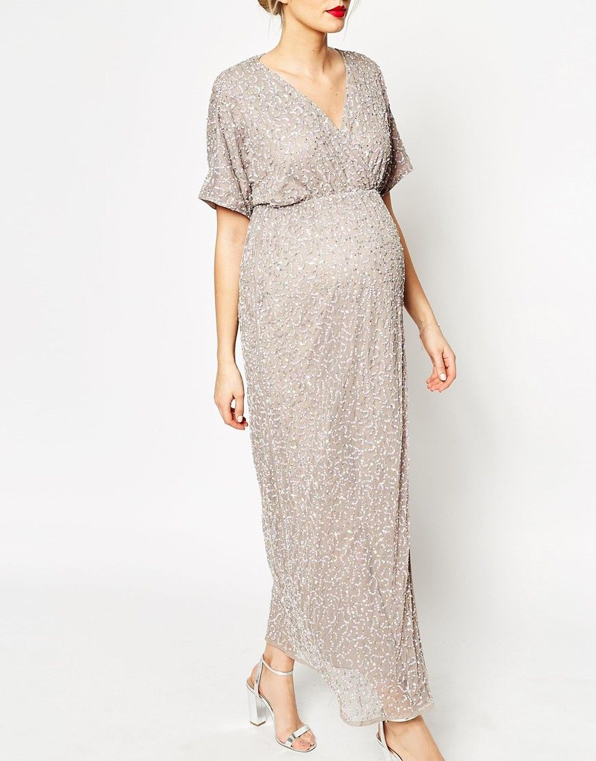 Image 3 of ASOS Maternity Kimono Maxi Dress In Sequin | Bump ...