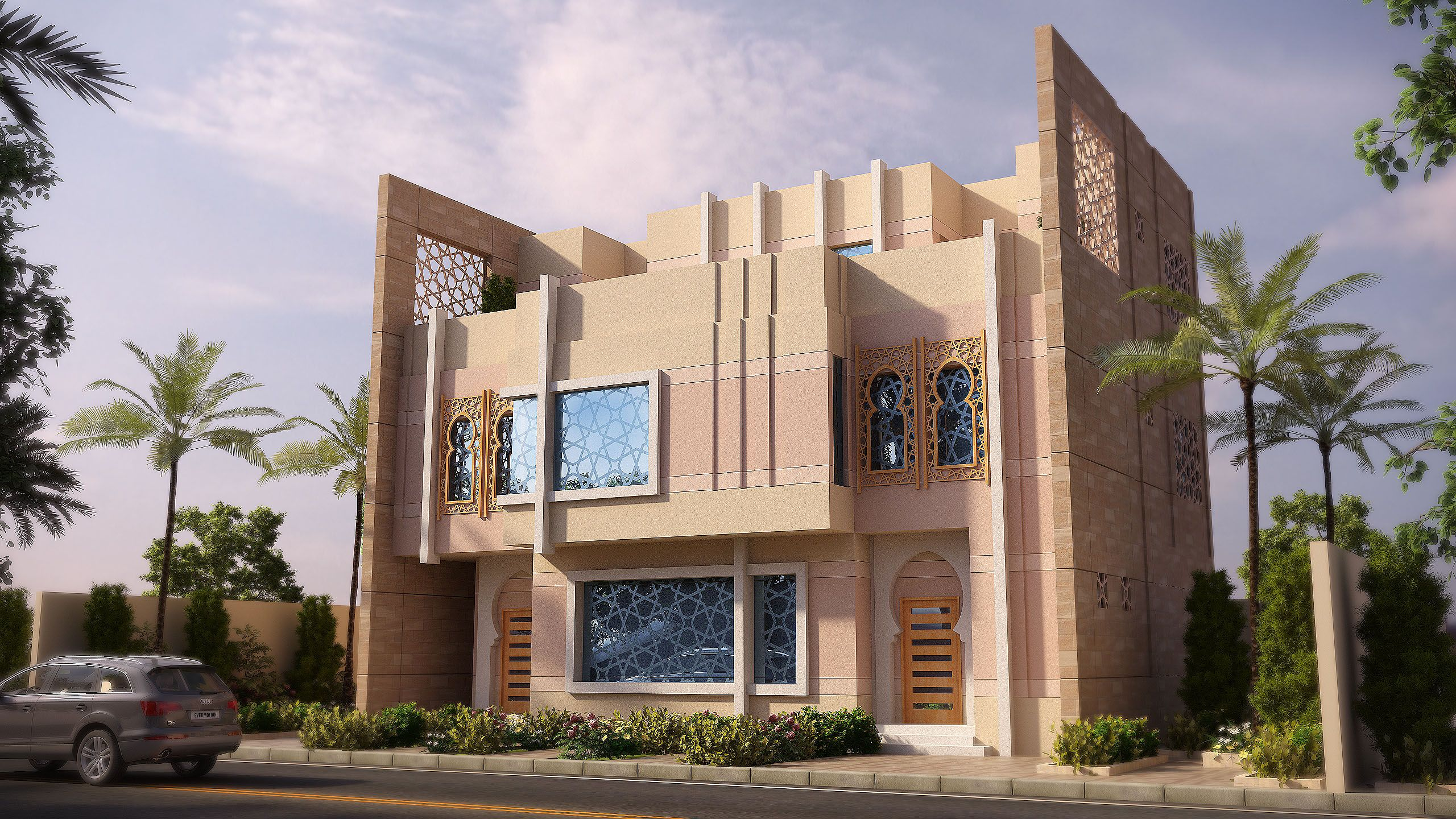 Modern islamic design villa in saudi arabia designed by for Modern villa architecture design