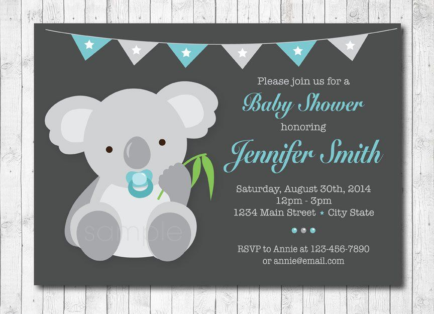 Koala Baby Shower Invitation Baby Boy Digital Printable