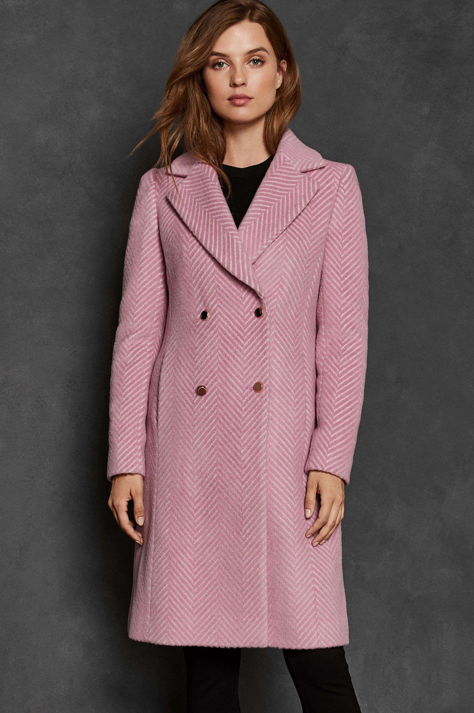 eb0de5c9c1cf Womens Ted Baker Pink Saffra Chevron Wool Midi Coat - Pink ...